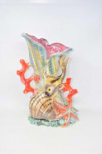 Vase Decorative Ceramic Theme Sea With Coralli Fish And Stars Marine Made In Italy