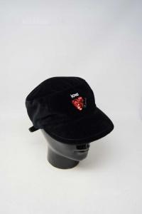 Cap Woman Black Velvet With Heart Paiettes 100% Cotton