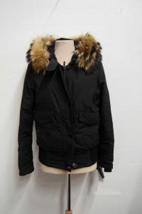 Vest Woman Woolrich Black Original Size L Model Short