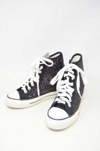 Shoes Woman Cafe Noir Black Glitter Heel Internal N°.36
