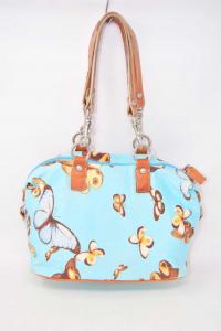 Bag Tosca Blue Light Blue With Butterflies,details Leather 29x15x20 Cm