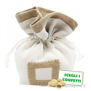 Portaconfetti quadrato Bianco con tasca per tag 10 cm - Sacchetti comunione e matrimonio