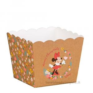 Vaso portaconfetti e dolci Minnie Flowers Disney 7x7x7 cm - Scatole battesimo bimba