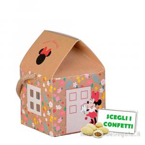 Portaconfetti casetta Minnie Flowers Disney con cordoncino 5.5x5.5x5 cm - Scatole bimba