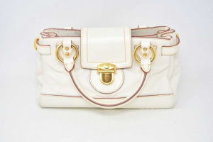 Handbag Woman Marc Jacobs White With Inserts Gold Plated 30x16 Cm
