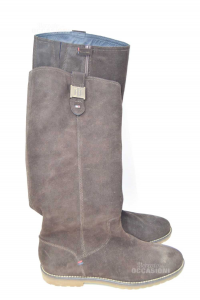 Stivale Donna Tommy Hilfiger Marrone In Pelle Scamosciata N 37