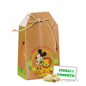 Portaconfetti bustina Mickey Savana Disney 5.5x3.5x10 cm - Scatole bimbo