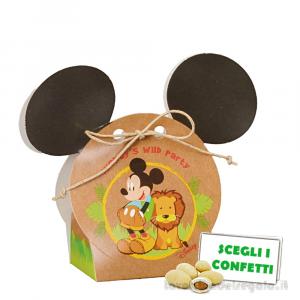 Portaconfetti Mickey Savana Disney con orecchie 5.5x4x10.5 cm - Scatole bimbo