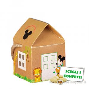 Portaconfetti casetta Mickey Savana Disney con cordoncino 5.5x5.5x5 cm - Scatole bimbo