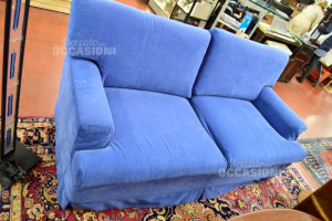 Sofa Bed In Fabric Removable Cover Two Seats Blue