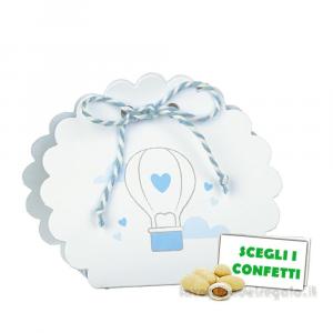 Portaconfetti borsetta Balloon Celeste 5.8x4x8.5 cm - Scatole battesimo bimbo