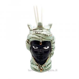 Profumatore Testa di Moro uomo Turchese in porcellana 9 cm - Bomboniera matrimonio