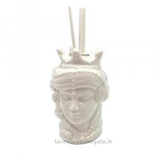 Profumatore Testa di Moro donna Bianco in porcellana 9 cm - Bomboniera matrimonio