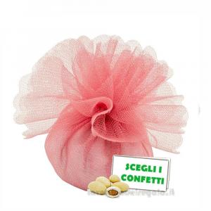 Portaconfetti Colore Rosa Antico doppio velo con tirante in organza 25 cm - Veli bomboniere