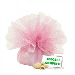 Portaconfetti Colore Rosa doppio velo con tirante in organza 25 cm - Veli bomboniere