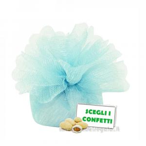 Portaconfetti Colore Celeste doppio velo con tirante in organza 25 cm - Veli bomboniere