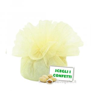 Portaconfetti Colore Crema doppio velo con tirante in organza 25 cm - Veli bomboniere