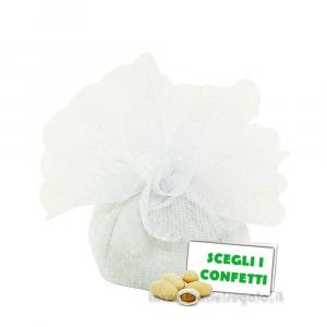 Portaconfetti Colore Bianco doppio velo con tirante in organza 25 cm - Veli bomboniere