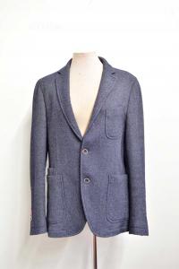 Jacket Man Wool And Cashmire Blue Size.52