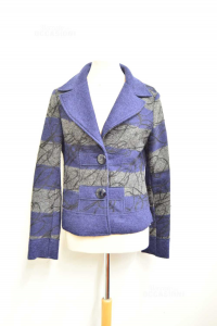 Jacket Woman Made In Italy 80& Wool Blue Grey Size .xl