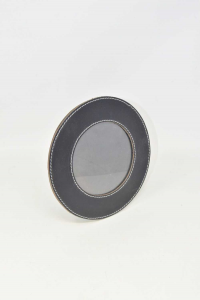 Photo Frame Round In Real Leather Black 20 Cm