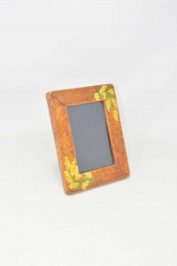 Wooden Photo Frame Hand Painted Flowers Yellow 16x21 Cm