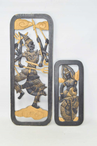 Pair Decorations Indian 19x50 13x30 Cm