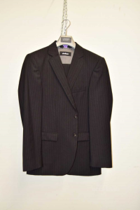 Complete Jacket + Trousers Man Strellson Size 48 Black Pinstriped