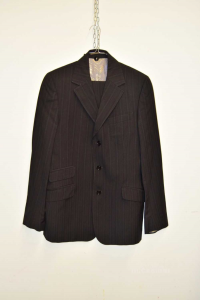 Complete Man Dolce & Gabbana Jacket + Trousers Size.50 Pinstriped Black Wool / Cotton