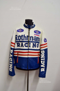 Jacket For Bike Man Rothmans Racing True Leather Size.m / L Never Used (no Protections)