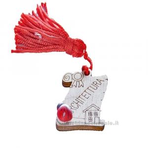 Magnete Pergamena Architettura con nappina Rossa e coccinella in legno 3.5 cm - Bomboniera laurea