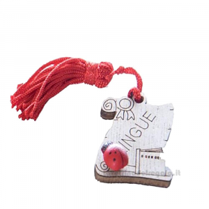 Magnete Pergamena Lingue con nappina Rossa e coccinella in legno 3.5 cm - Bomboniera laurea
