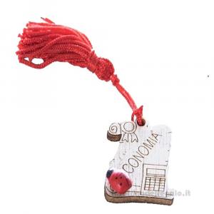 Magnete Pergamena Economia con nappina Rossa e coccinella in legno 3.5 cm - Bomboniera laurea