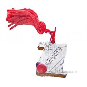 Magnete Pergamena Ingegneria con nappina Rossa e coccinella in legno 3.5 cm - Bomboniera laurea