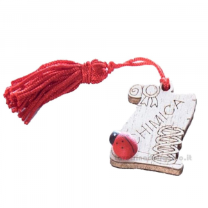 Magnete Pergamena Chimica con nappina Rossa e coccinella in legno 3.5 cm - Bomboniera laurea
