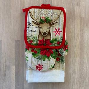 Set regalo presina+guanto+canovaccio Cervo
