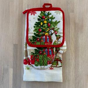 Set regalo presina+guanto+canovaccio Albero di Natale