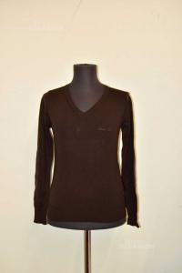 Maglione Donna Armani Jeans Tg 40 Marrone 100% Lana Vergine
