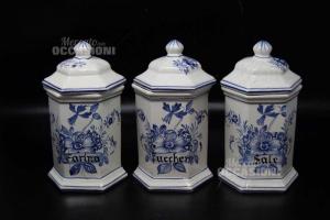 Tris Vasi Bassano In Ceramica Sale Zucchero Farina H 22
