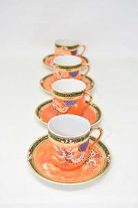 Tazzine Da Caffè Cinesi Arancioni 4 Pezzi Con Piattini