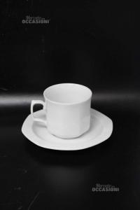 Tazze Da Caffè Grandi Ceramica Bianca Lelthamm Bavaria 5 Pezzi