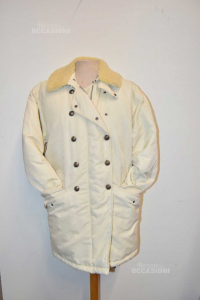 Giubotto Donna Ralph Lauren Bianco Panna Mod. Vintage Vera Piuma Tg S
