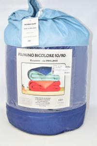 Piumone Matrimoniale 10/90 250 X 200 Cm Bicolore Blu E Azzurro