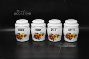 4 Vasetti In Vetro Bianco Porta Spezie