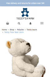 Storeden theme - mobile preview - Little Teddy's Farm