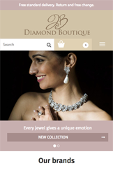 Storeden theme - mobile preview - The Diamond Boutique